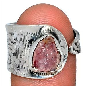 BOUTIQUE PINK TOURMALINE CIGAR.BAND RING, SIZE 10